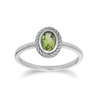 Gemondo Sterling Silver Peridot August Rope Design Ring