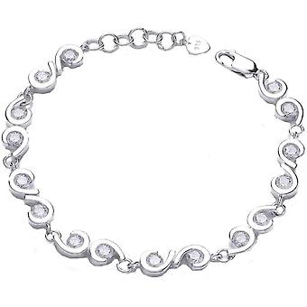 Cavendish French Comma Cubic Zirconia Bracelet - Silver