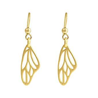 Gemshine - damer - örhängen - fjäril - wings - WINGS - 925 Silver - guld pläterad - 4,5 cm