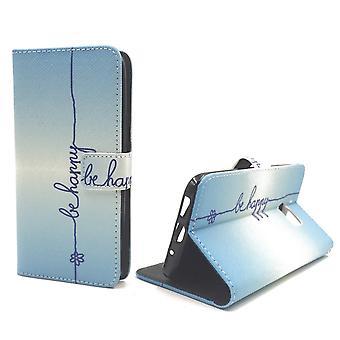 Handyhülle Tasche für Handy HTC 10 Schriftzug Be Happy Blau
