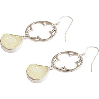 -Earrings - CLOVER - 925 Silver - DRUZY ladies - white - quartz - 5 cm