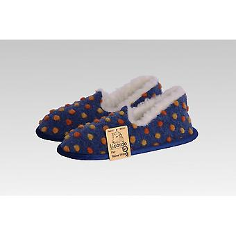 Moccasin wool dots Blue 44/45