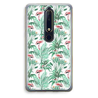 Nokia 6 (2018) Transparent Case - Flamingo leaves
