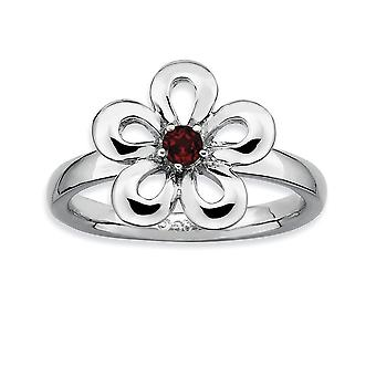 Sterling Silver Prong set Rhodium-plated Stackable Expressions Polished Garnet Flower Ring - Ring Size: 5 to 10