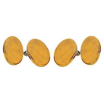 David Van Hagen Plain Double Cufflinks - Gold