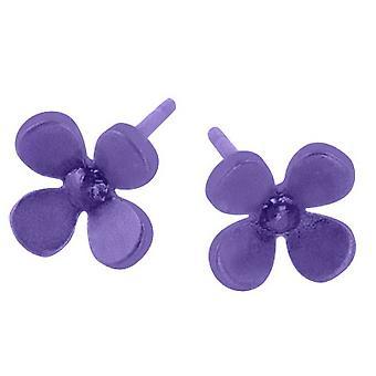 Ti2 titanio 8mm cuatro pétalos flor pendientes del perno prisionero - púrpura Imperial