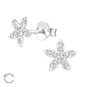 Flower - 925 Sterling Silver Crystal Ear Studs - W32814x