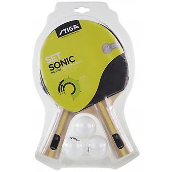 Stiga Bat Set Sonic 2 Bats + 3 Balls Table Tennis