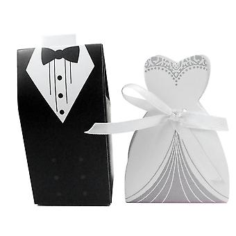 TRIXES 100PC Bride and Groom Wedding Favour Boxes Plain Black and White