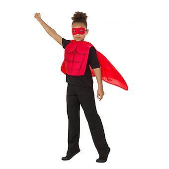 Kids Superhero Kit Red, Eyemask EVA & Cape,Boys Fancy Dress Age 8-12