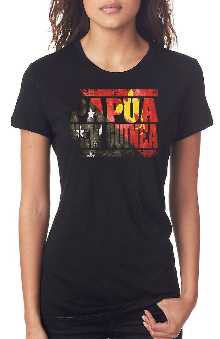 PapuaNewGuinea Flag - Words Ladies T Shirt
