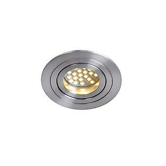 Lucide Tube Modern Round Aluminum Satin Chrome Recessed Spot Light