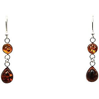 Toc Sterling Silver Amber Tear Drop Shaped Long Drop Earrings