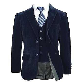 Boys Navy Blue Velvet Suit