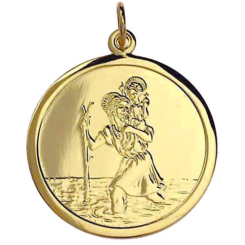 9ct Gold 25mm round St Christopher with car boat train plane on back