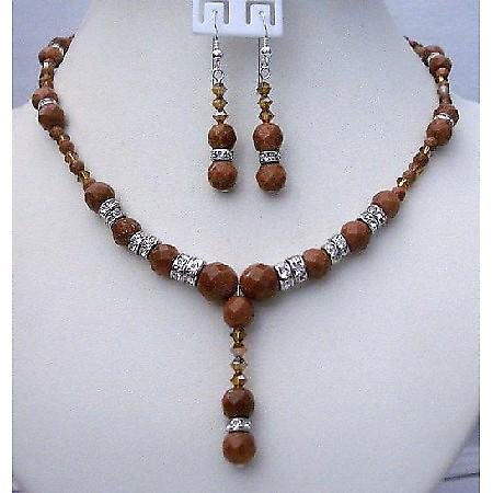 Wedding Handmade Satin Topaz & Goldenstone Beads Necklace Earrings Set
