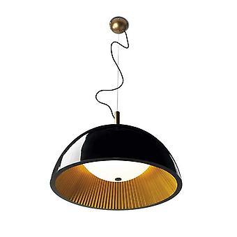 Umbrella Large Black Pendant With Gold Pleated Interior - Grok 00-2726-AP-05