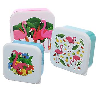 Tropical Flamingo lunch boxes set of 3 set white pink, printed in multicolor plastic, 3. Sizes.