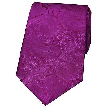 David Van Hagen luxe Paisley zijden stropdas - Cerise roze