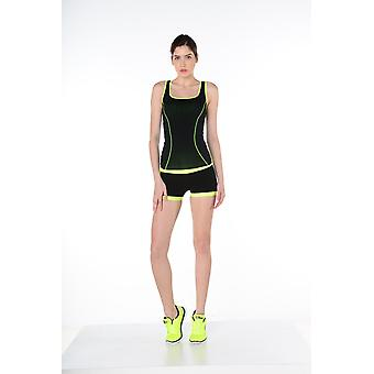 Jerf- Womens-mahe - Black And Neon Yellow - Seamless Active Short