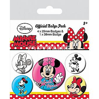 Minnie Mouse 5 ronde Pin Badges in Pack (py)