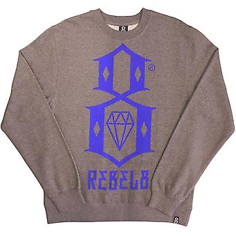 REBEL8 Logo Men's Crewneck Sweatshirt Gun Metal Heather
