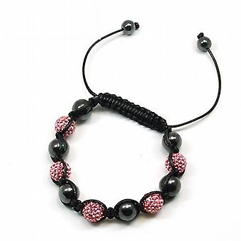 TOC behandlas hematit & rosa Crystal Disco Ball justerbar armband