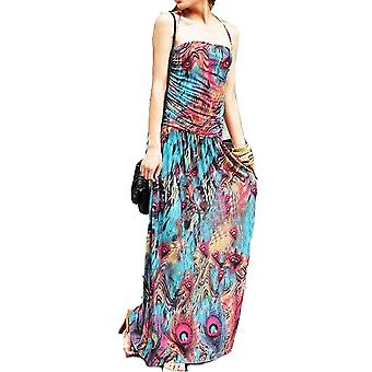 Ladies floral colourful peacock print summer beach casual holiday dress halter neck
