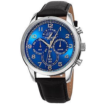 Akribos Chronograph Multifunctional Men's AK1004SSBK Watch - Leather Strap Concentric Circles Four Chronograph Subdials