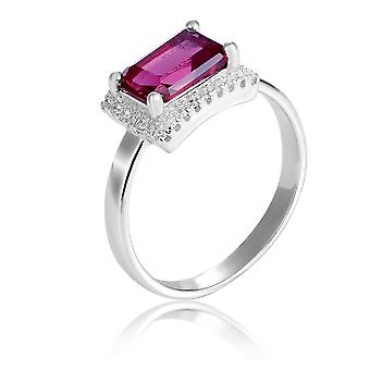 Orphelia Silver 925 Ring Rectangle With Ruby And Zirconium ZR-7425