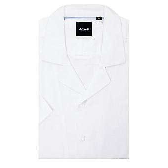 Dobell Mens Camicia bianca regolare fit cubano collare manica corta