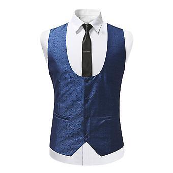 Allthemen Men-apos;s Costume Vest U-Neck Slim Fit Tuxedo Costume Veste Marine