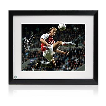 Framed Dennis Bergkamp Signed Arsenal Photo: The Statue