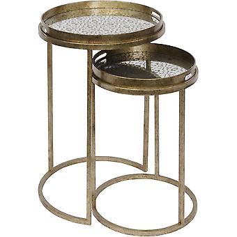 Libra Furniture Antique Gold Diamond Print Nest Of Side Tables