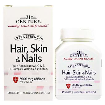 21st century hair, skin & nails, extra strength, tablets, 90 ea