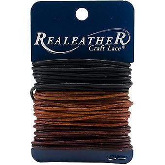 Round Leather Lace 2mm Carded 8yd-Ebony, Cedar & Mahogany RLC0222