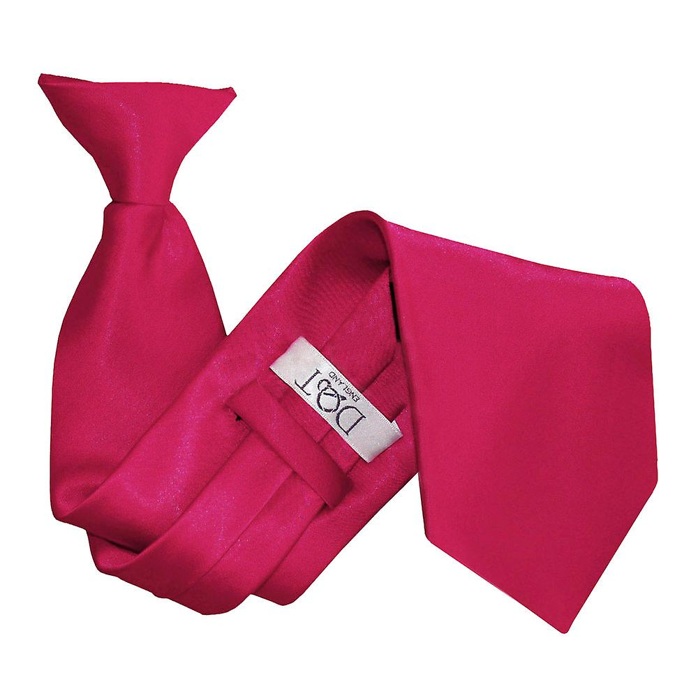 Plain Crimson Red Satin Clip On Tie