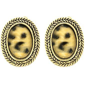 Clip On Earrings Store Leopard Marble Stone & Gold Oval Clip On Earrings