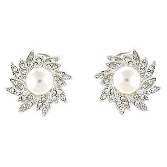 Kenneth Jay Lane Crystal & Pearl Starburst Flower Clip On Earrings
