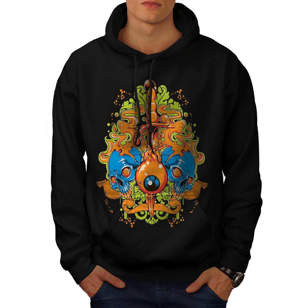 Eye Badass Death Skull Men Black Hoodie | Wellcoda