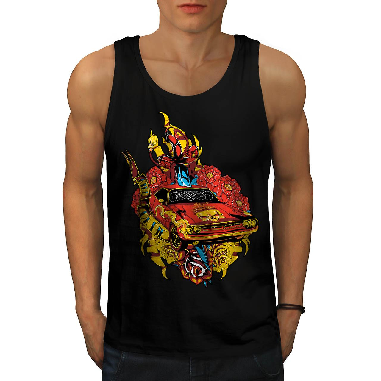 Morire di orgoglio Auto Mobile Hell Ride Men Black Tank Top | Wellcoda