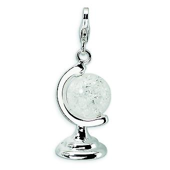 Sterling Silver 3-D Enameled Cracked Crystal Globe With Lobster Clasp Charm - Measures 35x12mm