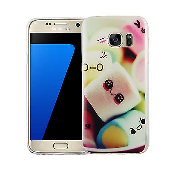 Cell phone case voor Samsung Galaxy S7 cover case beschermende zak motief slanke siliconen TPU belettering marshmallows