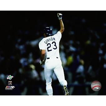 Kirk Gibson #23 gestures to the crowd after hitting the game winning home run in the bottom of the ninth inning of game 1 of the 1988 World Series against the Oakland Athletics at Dodger Stadium Octob