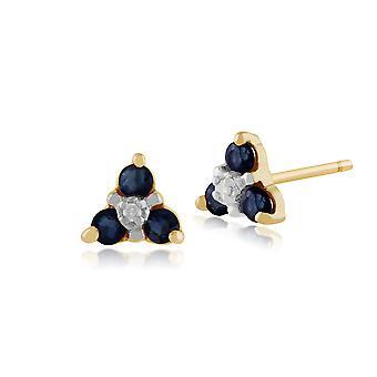 9ct желтое золото 0.30ct Сапфир & Diamond цветочные кластера Стад Серьги