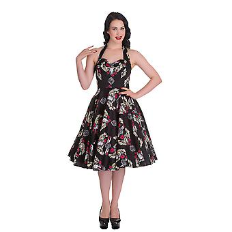 Hell Bunny Womens Tennessee 50s Dress Vintage Rockabilly Roses Owls Skulls Black