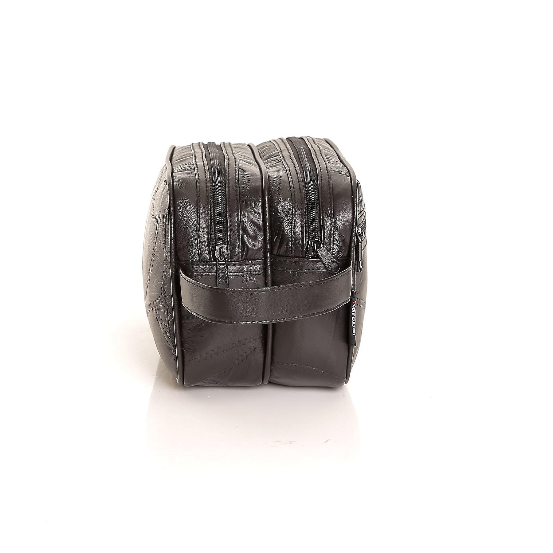 Karabar Russell Mens Leather Travel Wash Bag, Black
