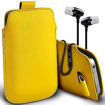 i-Tronixs Premium Stylish Faux Leather Pull Tab Pouch Skin Case Cover with Aluminium Stereo Hands Free Earphone For Ulefone Paris X (5