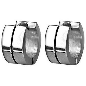 Hoop Huggie Earrings, Stainless Steel, Black Stripes