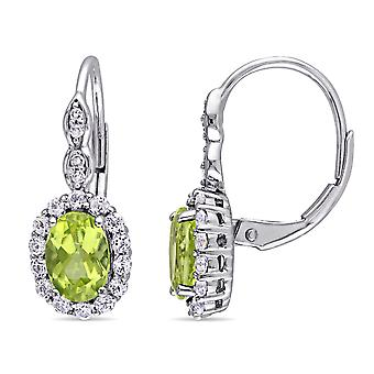 Peridot and White Topaz LeverBack Earrings 2 1/2 Carat (ctw) with Diamonds in 14K White Gold